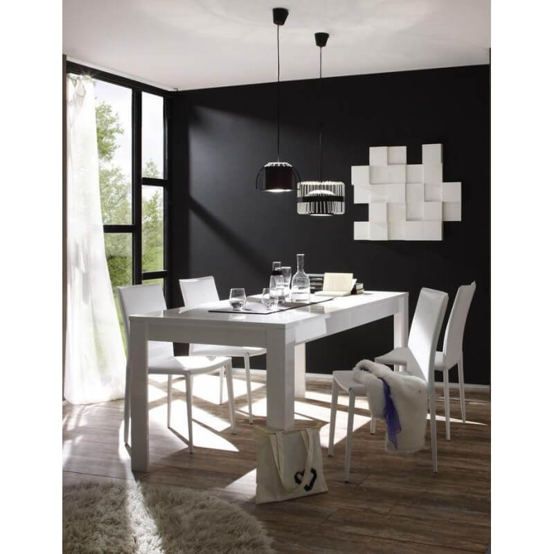 Table de salle manger design rectangulaire laqu e blanche sybelle matelpro - Belle table salle a manger ...