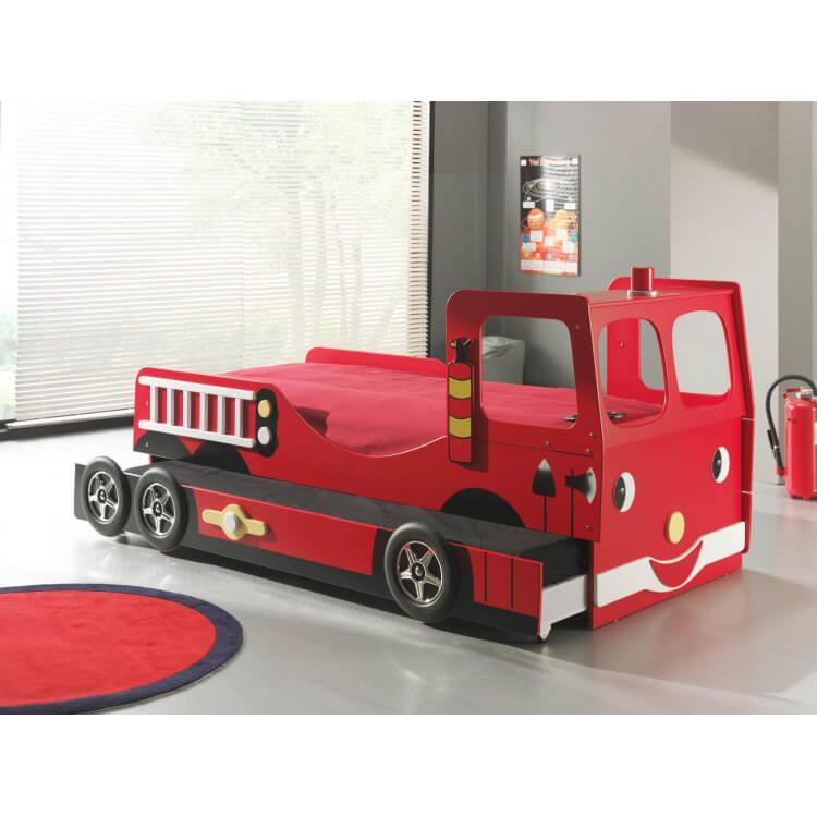 lit enfant camion de pompier avec tiroir lit truck