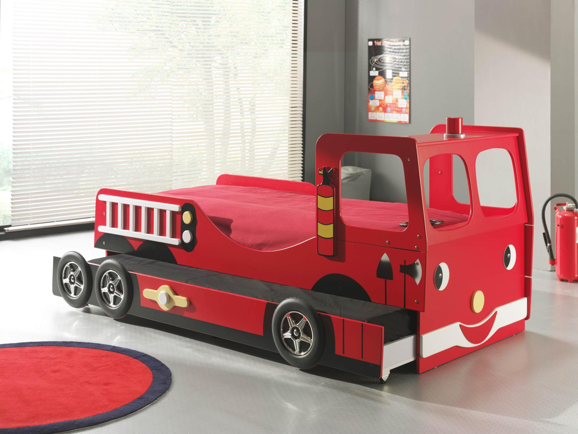 lit enfant camion de pompier avec tiroir lit truck. Black Bedroom Furniture Sets. Home Design Ideas