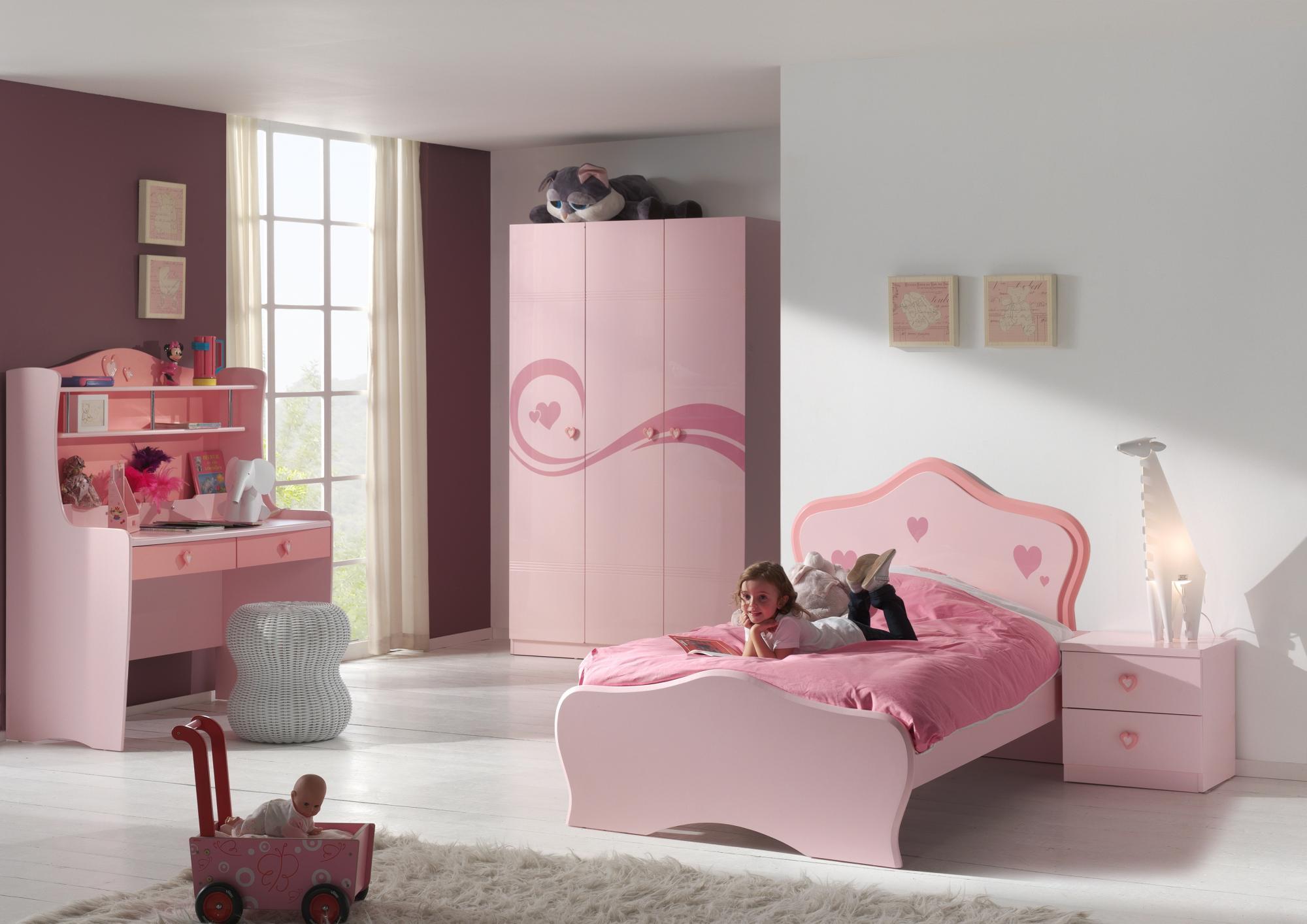 Chambre enfant complète coloris rose Lorie II
