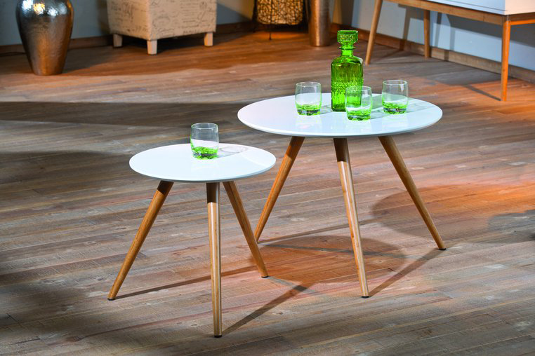 Tables gigognes rondes coloris blanc brillant Philea