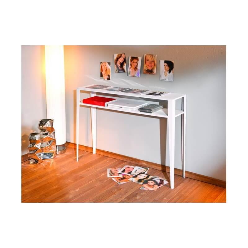 console design rectangulaire en m tal blanc laqu diddi. Black Bedroom Furniture Sets. Home Design Ideas