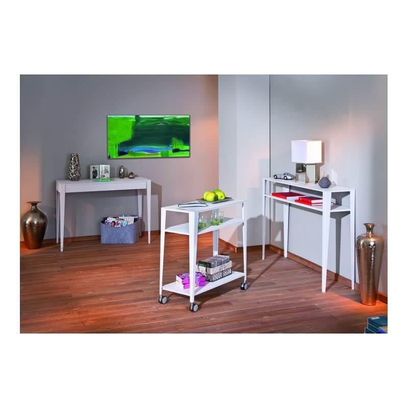 etag re design 3 niveaux sur roulettes en m tal blanc diddi. Black Bedroom Furniture Sets. Home Design Ideas