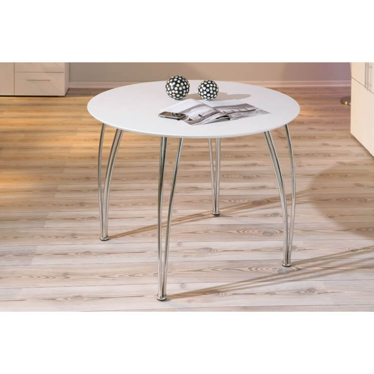 Table de cuisine moderne ronde blanche Fellini