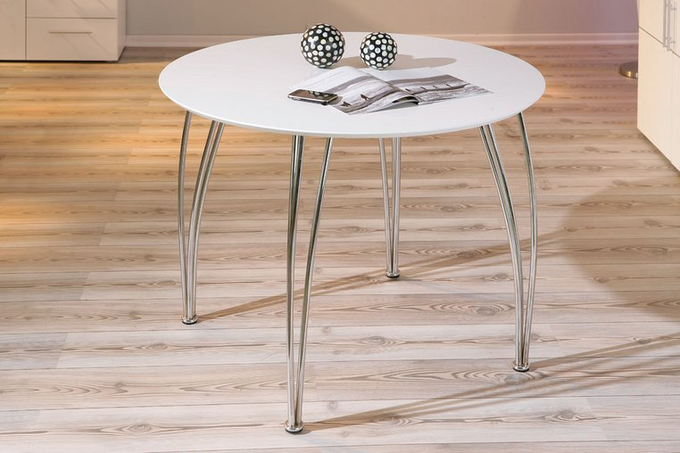 Table de cuisine moderne ronde blanche Fellini