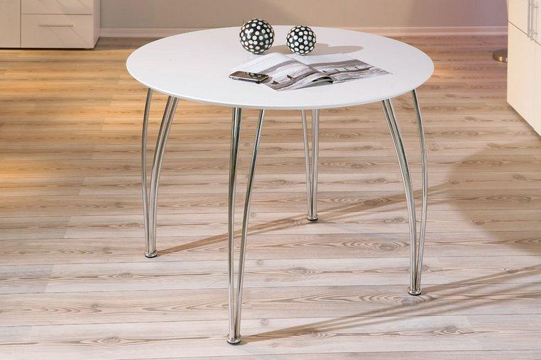 Table de cuisine ronde métal et bois coloris blanc Fellini