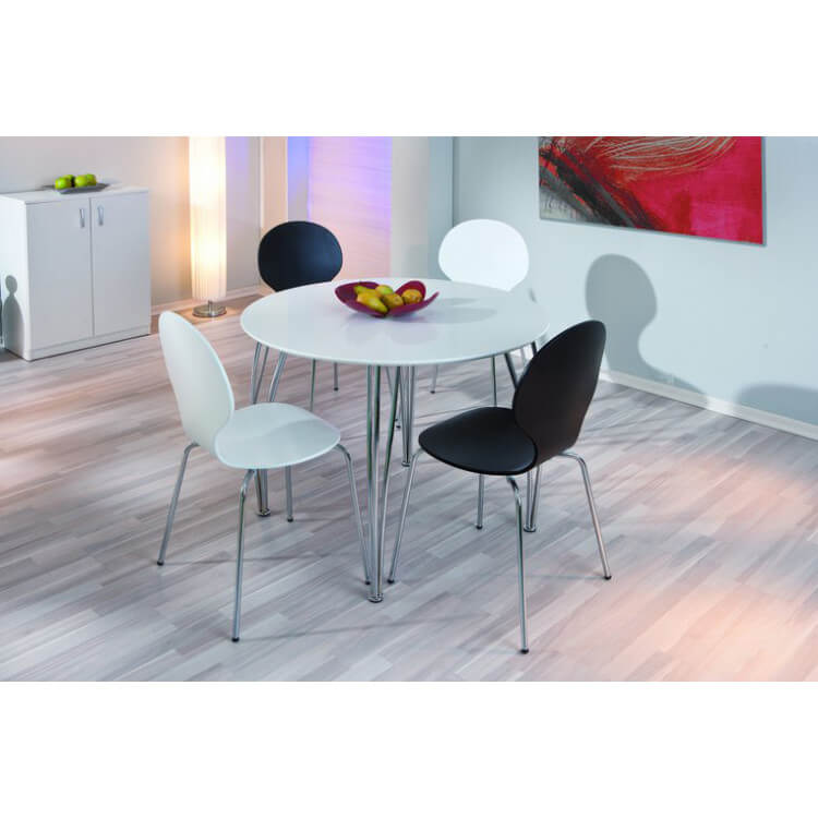 table de cuisine ronde m tal et bois coloris blanc fellini matelpro. Black Bedroom Furniture Sets. Home Design Ideas