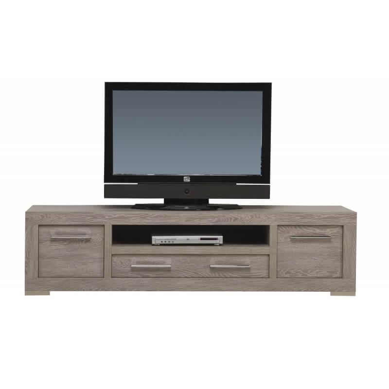 Meuble tv contemporain 200 cm coloris cottage oak tania - Meuble tv 200 cm ...