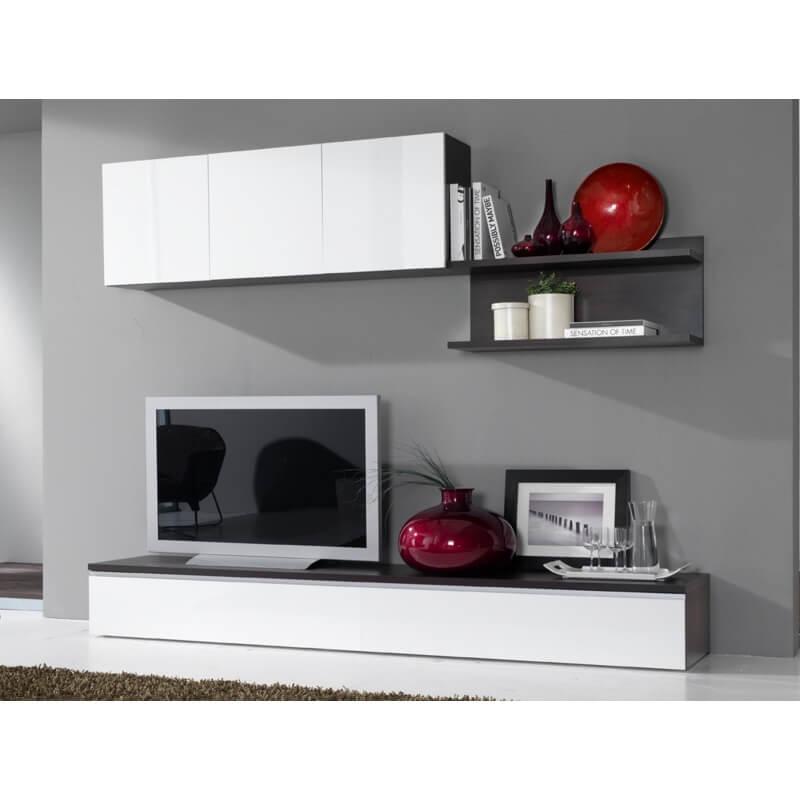 composition murale tv design blanc laqu weng portino. Black Bedroom Furniture Sets. Home Design Ideas