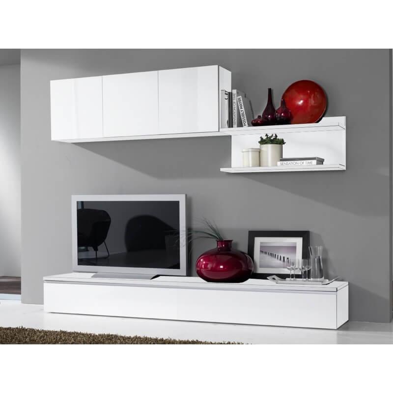 composition murale tv design laqu e blanche portino. Black Bedroom Furniture Sets. Home Design Ideas
