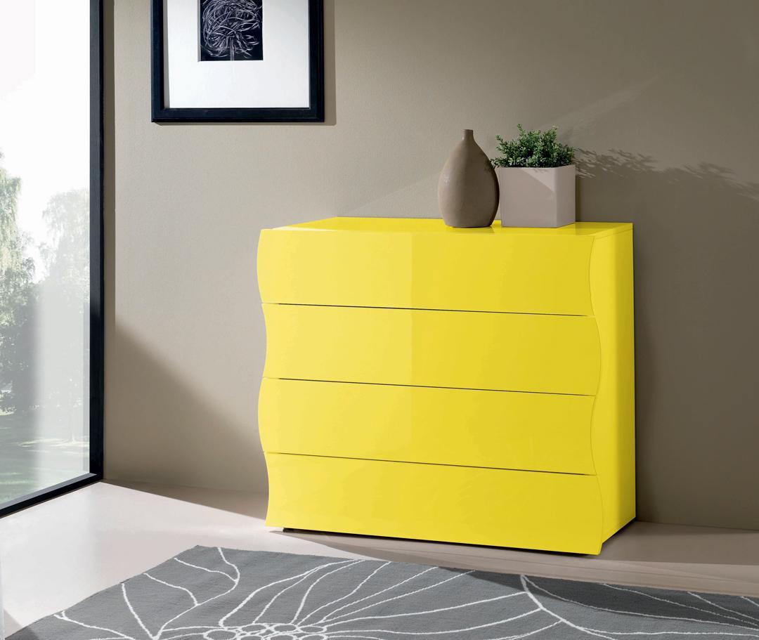 eb570526b82eba Commode design 4 tiroirs laquée jaune Onida