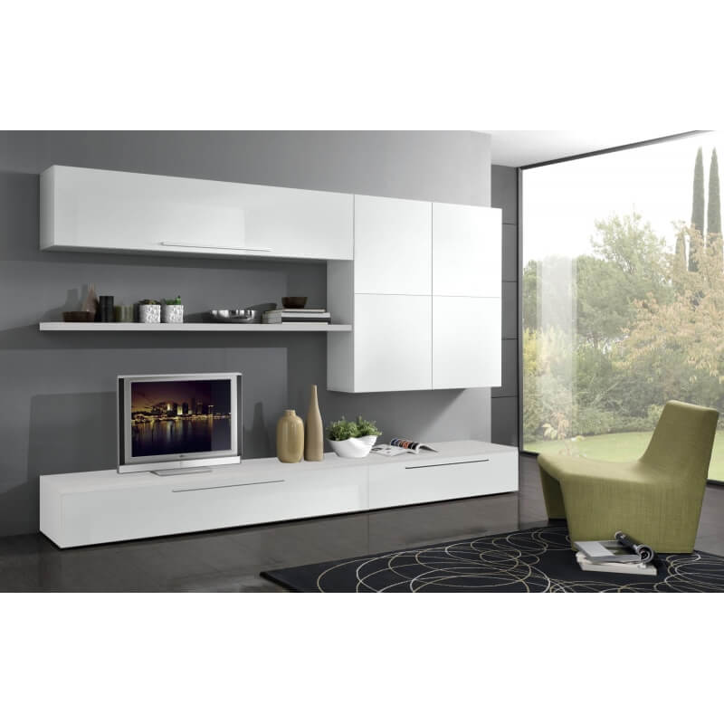 composition tv murale design laqu e blanche luciana. Black Bedroom Furniture Sets. Home Design Ideas