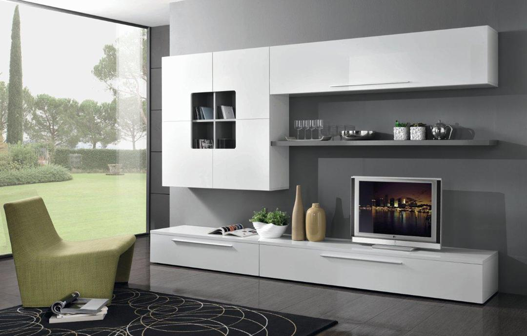 composition murale design blanc laqu gris mondo. Black Bedroom Furniture Sets. Home Design Ideas