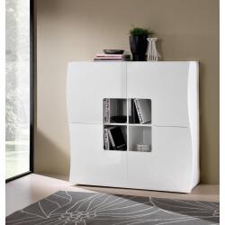 Meuble de rangement design 4 portes laqué blanc Onida