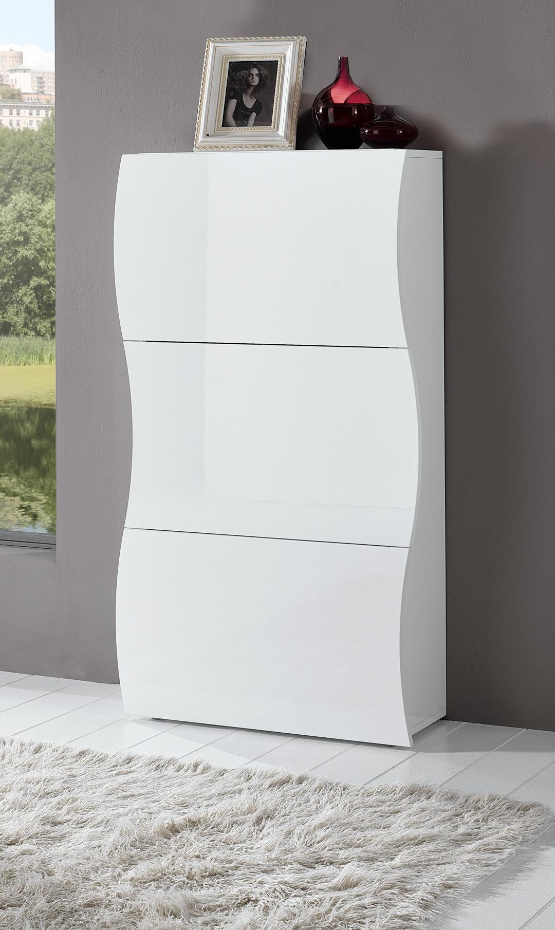 Meuble à chaussures moderne H 121 cm laqué blanc Onida