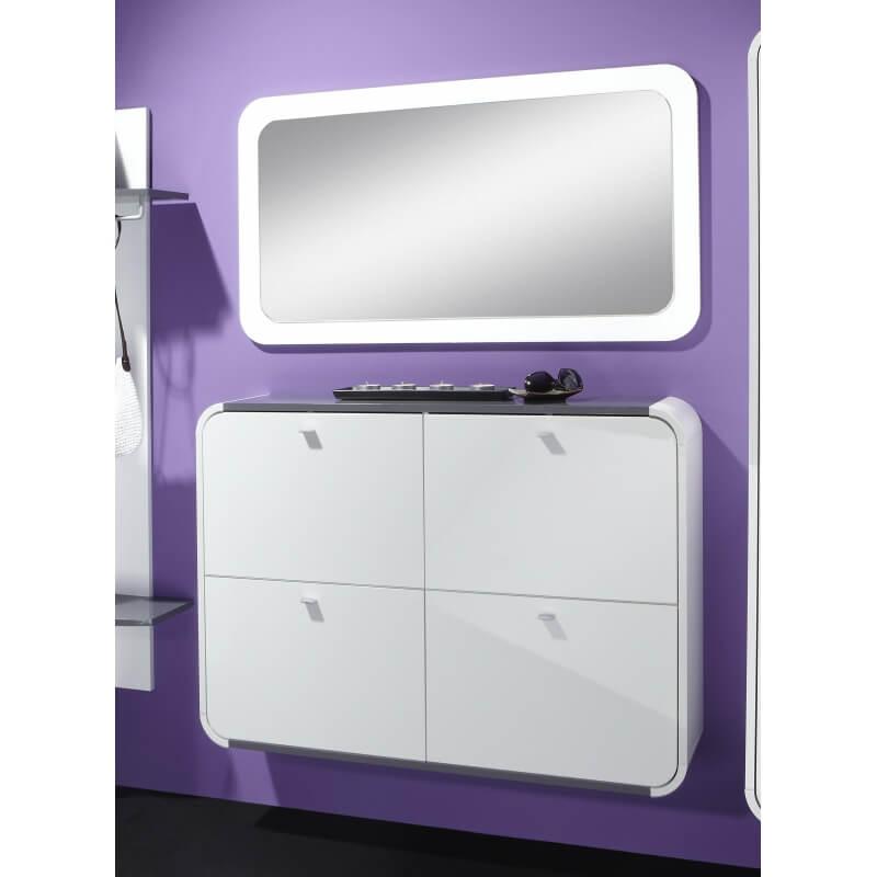 miroir rectangulaire design laqu blanc kamok. Black Bedroom Furniture Sets. Home Design Ideas