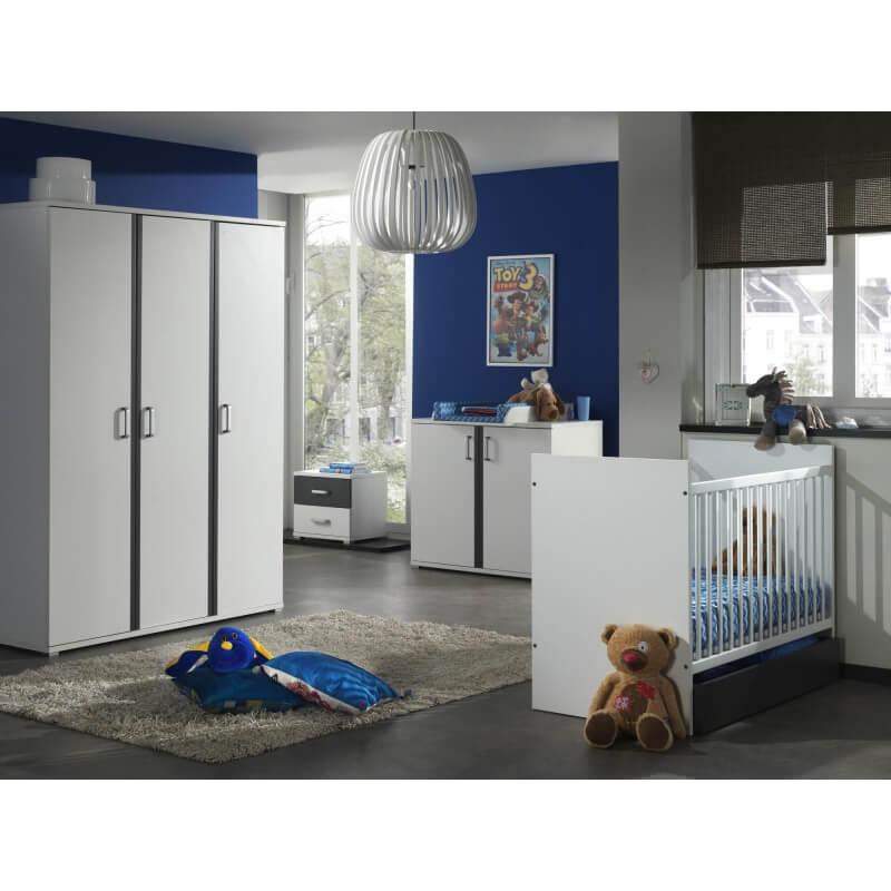 commode contemporaine 2 portes blanche et grise joss. Black Bedroom Furniture Sets. Home Design Ideas