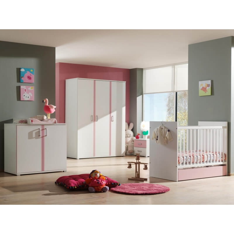 commode contemporaine 2 portes blanche et rose eglantine. Black Bedroom Furniture Sets. Home Design Ideas