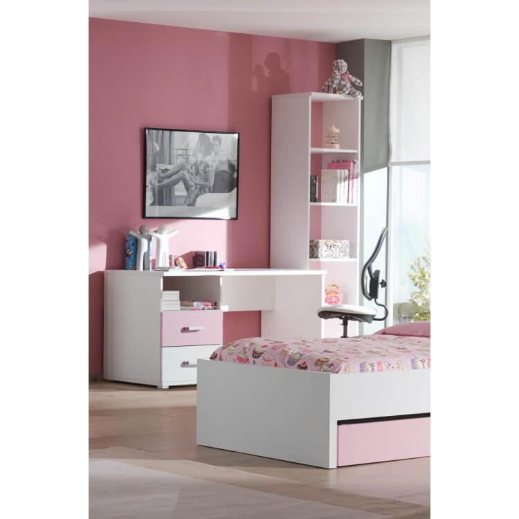 bureau contemporain 2 tiroirs blanc et rose eglantine. Black Bedroom Furniture Sets. Home Design Ideas