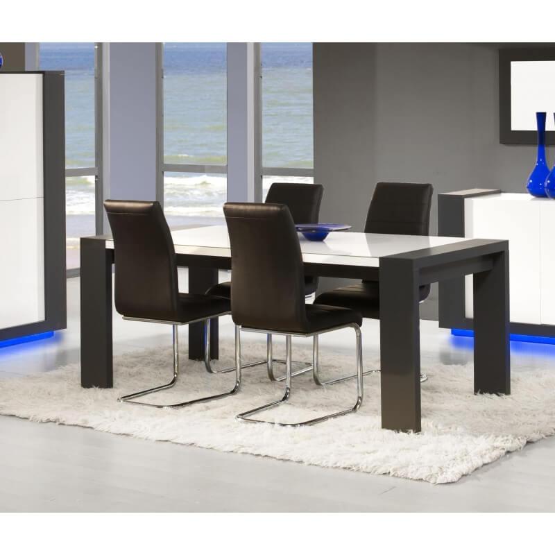 Table de salle manger design blanc laqu et anthracite nestor - Table salle a manger design blanc laque ...