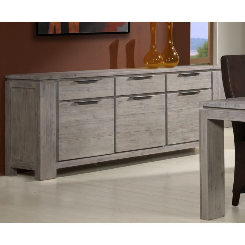 buffet bahut contemporaine 3 portes 3 tiroirs ch ne gris iberia. Black Bedroom Furniture Sets. Home Design Ideas