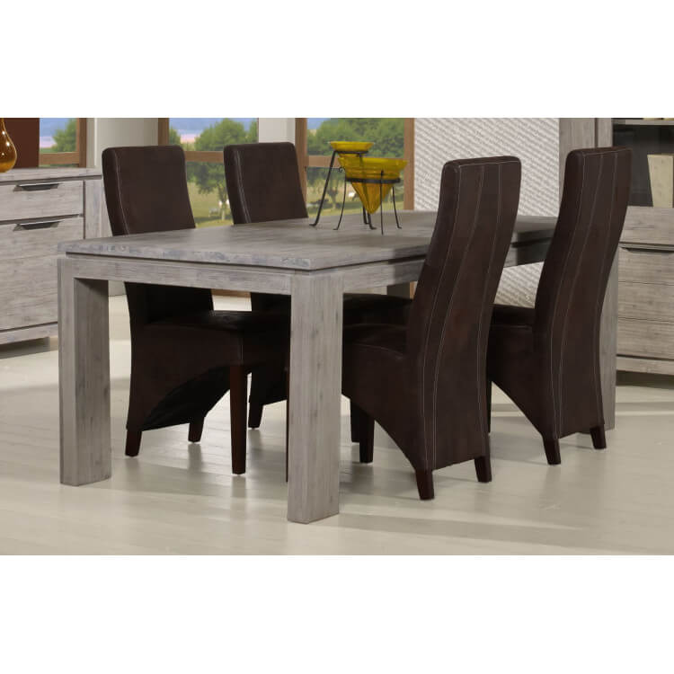 Table de salle manger contemporaine ch ne gris iberia - Table de salle a manger contemporaine ...