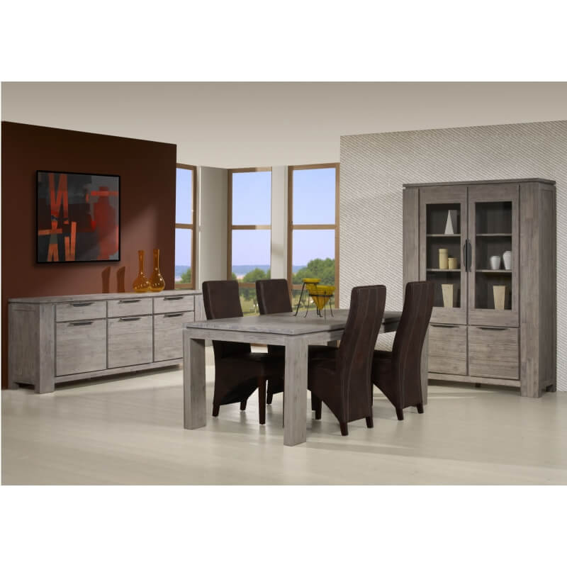 table de salle manger contemporaine ch ne gris iberia. Black Bedroom Furniture Sets. Home Design Ideas