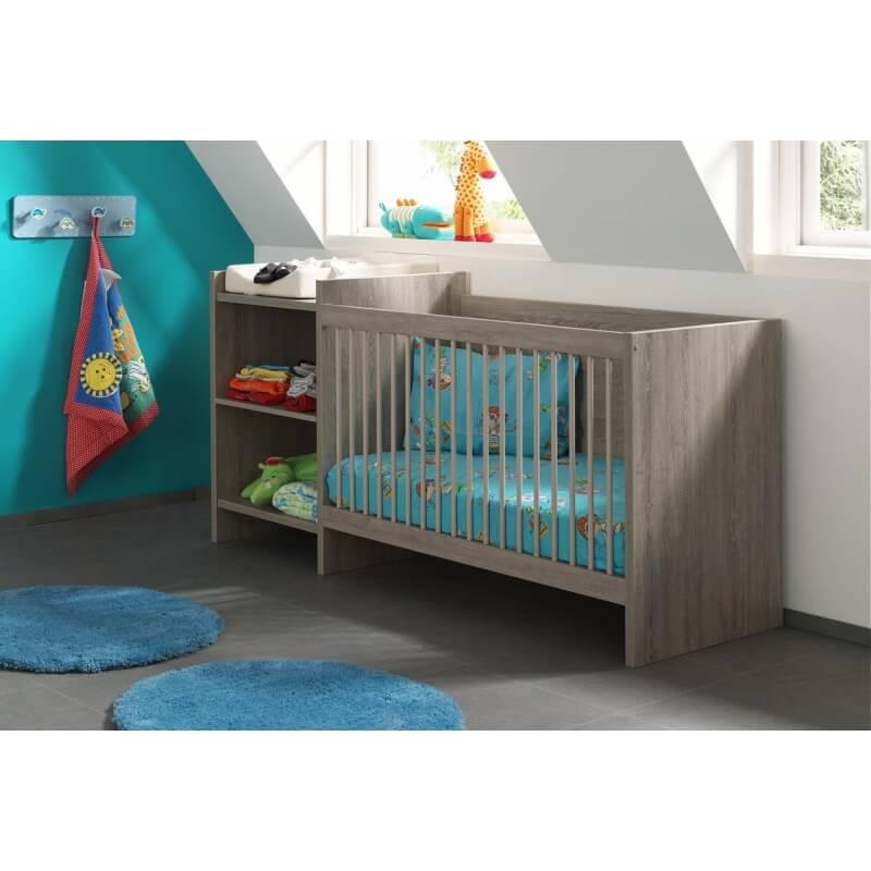 lit b b barreaux avec rangement contemporain ch ne espagnol travis. Black Bedroom Furniture Sets. Home Design Ideas