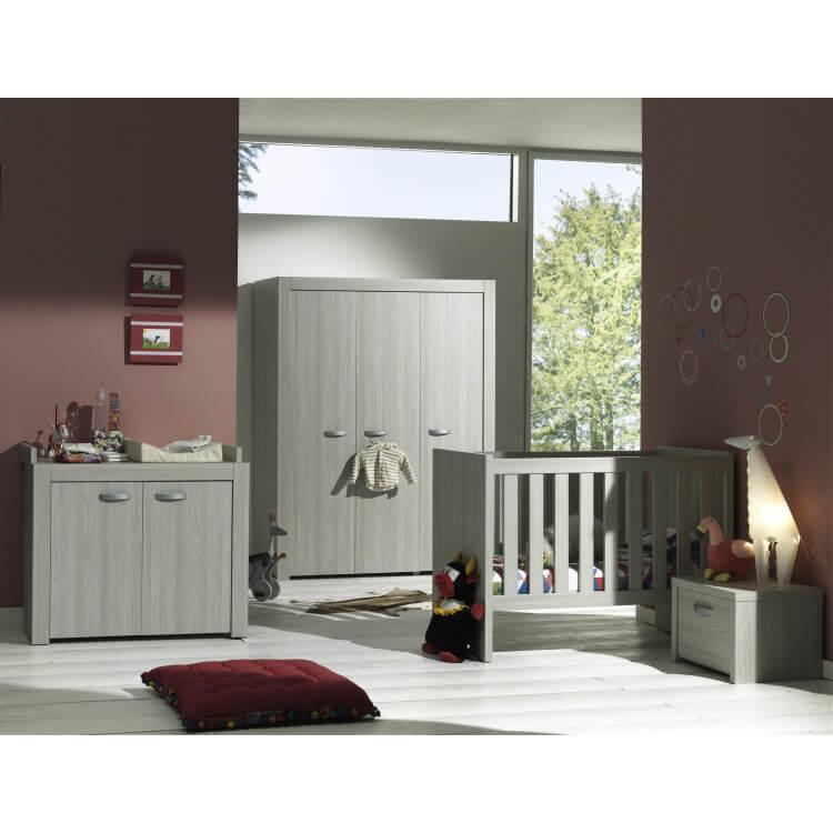 Chambre bébé complète contemporaine chêne gris Milano