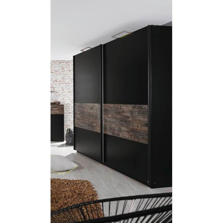 Armoire 2 portes coulissantes contemporaine coloris noir/brun Matra II