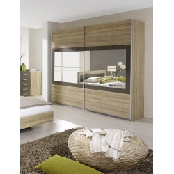 Armoire contemporaine portes coulissantes chêne clair/gris Venilia II