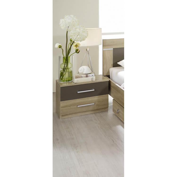 Chevet contemporain 2 tiroirs (lot de 2) chêne clair/gris Venilia
