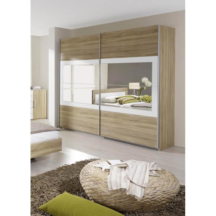 Armoire contemporaine portes coulissantes chêne clair/blanc Camelia