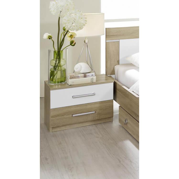 Chevet contemporain 2 tiroirs (lot de 2) chêne clair/blanc Camelia
