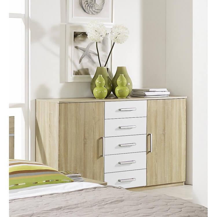 Commode contemporaine 2 portes/5 tiroirs chêne clair/blanc Camelia
