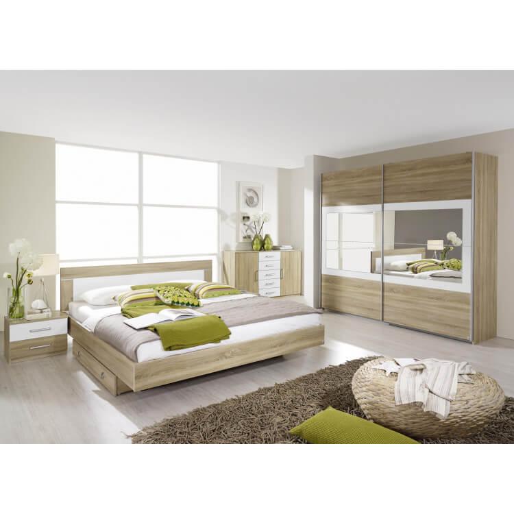 Chambre adulte contemporaine chêne clair/blanc Camelia