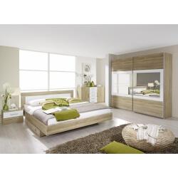Chambre adulte contemporaine chêne clair/blanc Camelia II