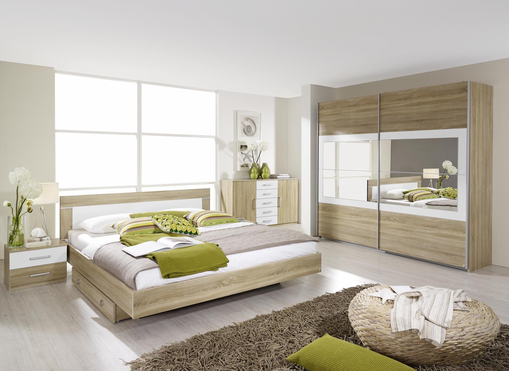 Chambre adulte contemporaine chêne clair/blanc Camelia II | Matelpro