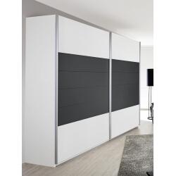 Armoire design 2 portes coulissantes coloris blanc/gris Barcelone