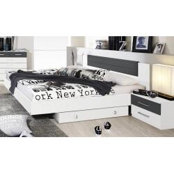 Lit adulte design avec 2 chevets coloris blanc/gris Barcelone