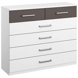 Commode design 6 tiroirs coloris blanc/gris Barcelone