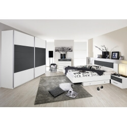 Chambre adulte design coloris blanc/gris Barcelone