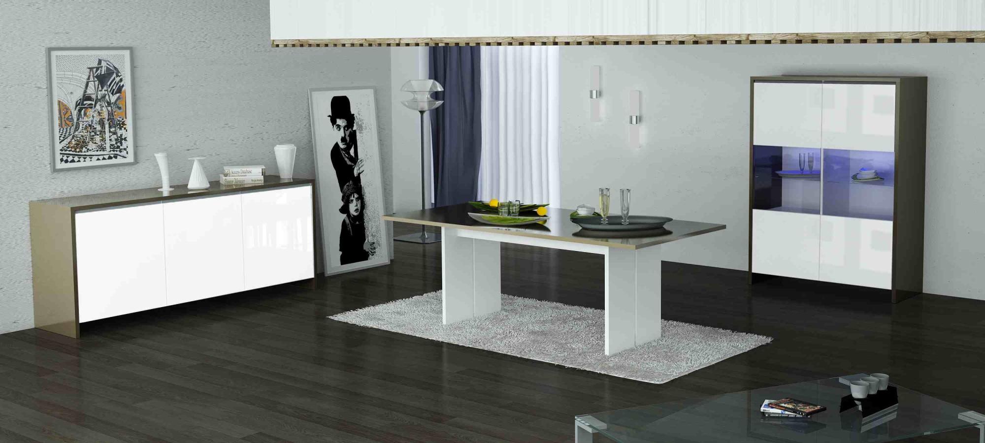 table de salle manger design laqu e blanche cappuccino kalie. Black Bedroom Furniture Sets. Home Design Ideas