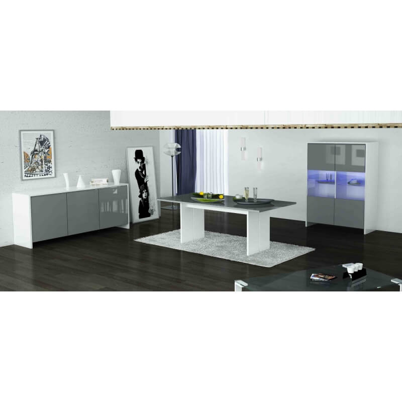 salle manger design laqu e blanche grise kyline. Black Bedroom Furniture Sets. Home Design Ideas