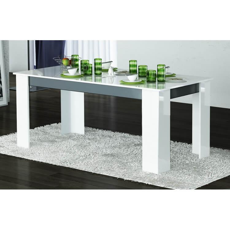 Table de salle à manger design laquée blanche/grise Nytro