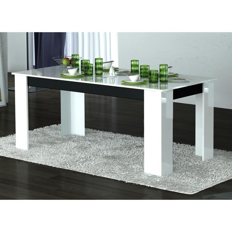 table de salle manger design laqu e blanche noire hyro. Black Bedroom Furniture Sets. Home Design Ideas