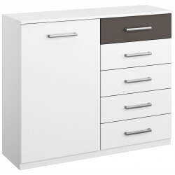 Commode design 1 porte/5 tiroirs coloris blanc/gris Barcelone