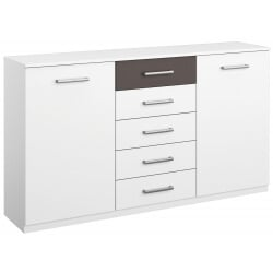 Commode design 2 portes/5 tiroirs coloris blanc/gris Barcelone