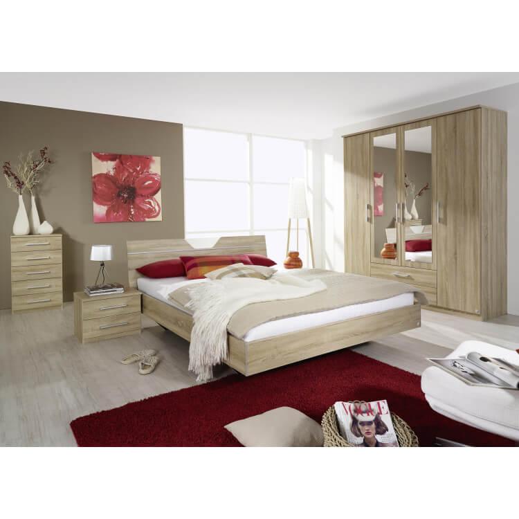 Chambre adulte contemporaine coloris chêne clair Balencia