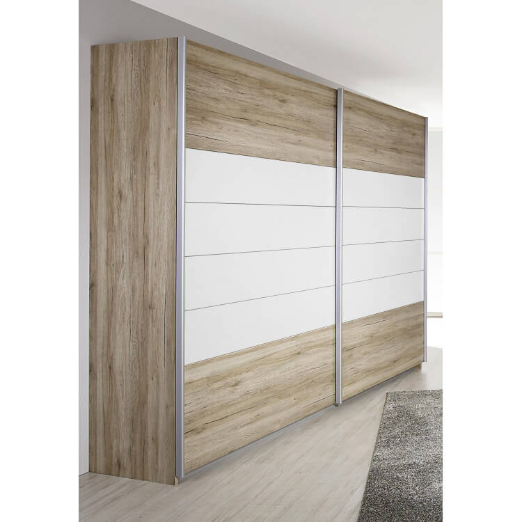 armoire contemporaine 2 portes coulissantes coloris ch ne clair blanc barcia matelpro. Black Bedroom Furniture Sets. Home Design Ideas